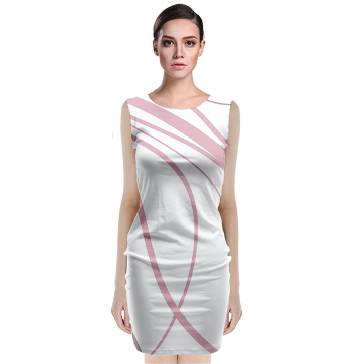 Pink elegant lines Classic Sleeveless Midi Dress