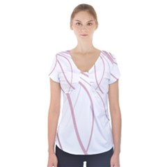 Pink Elegant Lines Short Sleeve Front Detail Top