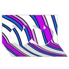 Purple Lines Twin Hearts 3D Greeting Card (8x4)