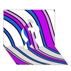 Purple Lines Ribbon 3D Greeting Card (7x5)