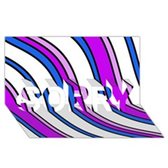 Purple Lines SORRY 3D Greeting Card (8x4)