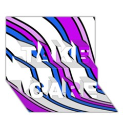 Purple Lines TAKE CARE 3D Greeting Card (7x5)