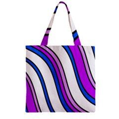 Purple Lines Zipper Grocery Tote Bag