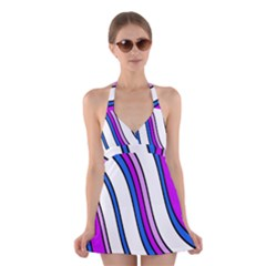 Purple Lines Halter Swimsuit Dress