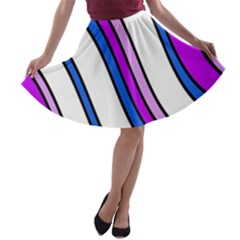 Purple Lines A-line Skater Skirt