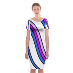 Purple Lines Classic Short Sleeve Midi Dress