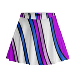 Purple Lines Mini Flare Skirt