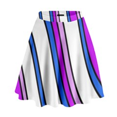 Purple Lines High Waist Skirt