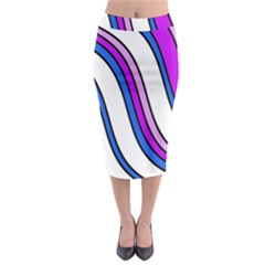 Purple Lines Midi Pencil Skirt