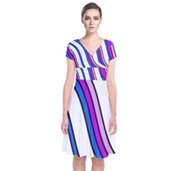 Purple Lines Short Sleeve Front Wrap Dress