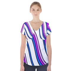 Purple Lines Short Sleeve Front Detail Top