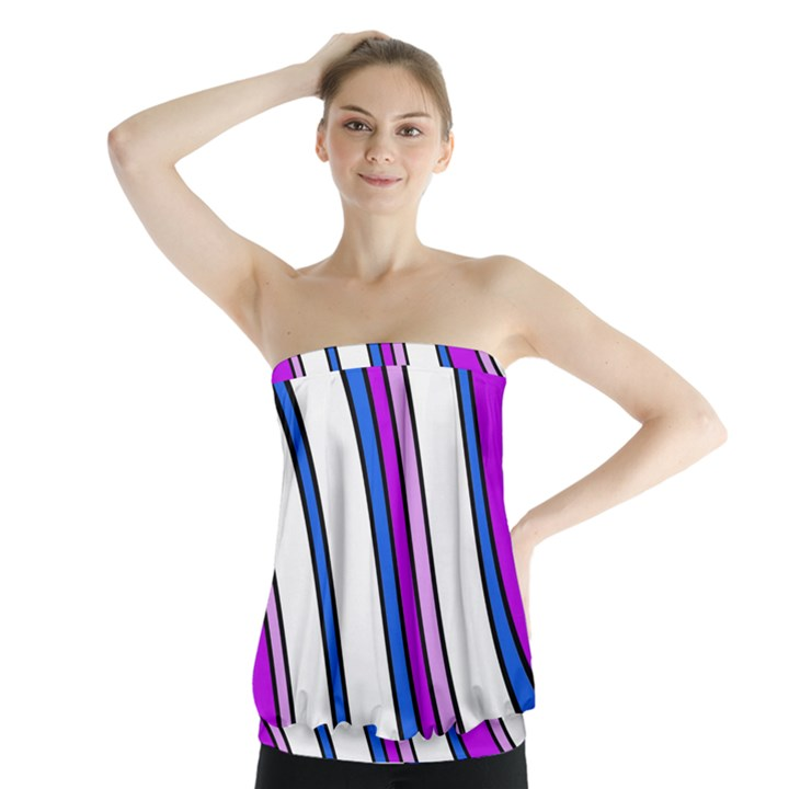 Purple Lines Strapless Top