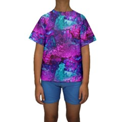 Melting In Purple Kid s Short Sleeve Swimwear