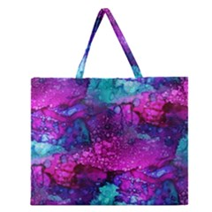 Melting In Purple Zipper Large Tote Bag