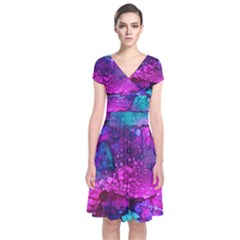 Melting In Purple Short Sleeve Front Wrap Dress