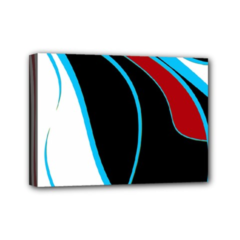 Blue, Red, Black And White Design Mini Canvas 7  x 5