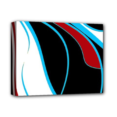 Blue, Red, Black And White Design Deluxe Canvas 14  x 11