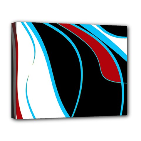 Blue, Red, Black And White Design Deluxe Canvas 20  x 16