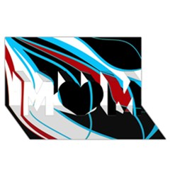 Blue, Red, Black And White Design MOM 3D Greeting Card (8x4)