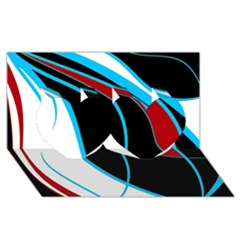 Blue, Red, Black And White Design Twin Hearts 3D Greeting Card (8x4)