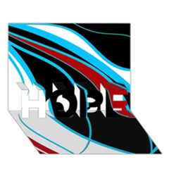 Blue, Red, Black And White Design HOPE 3D Greeting Card (7x5)