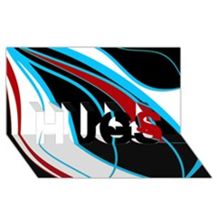 Blue, Red, Black And White Design HUGS 3D Greeting Card (8x4)
