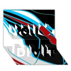 Blue, Red, Black And White Design You Did It 3D Greeting Card (7x5)