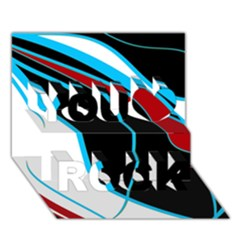 Blue, Red, Black And White Design You Rock 3D Greeting Card (7x5)
