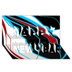 Blue, Red, Black And White Design Happy New Year 3D Greeting Card (8x4)