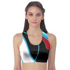 Blue, Red, Black And White Design Sports Bra