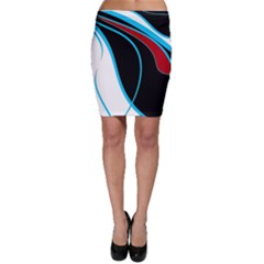 Blue, Red, Black And White Design Bodycon Skirt