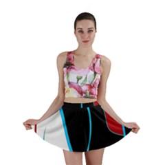 Blue, Red, Black And White Design Mini Skirt