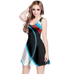 Blue, Red, Black And White Design Reversible Sleeveless Dress