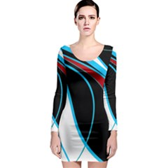 Blue, Red, Black And White Design Long Sleeve Bodycon Dress