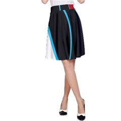 Blue, Red, Black And White Design A-Line Skirt