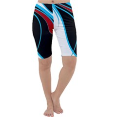 Blue, Red, Black And White Design Cropped Leggings