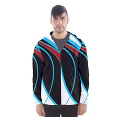 Blue, Red, Black And White Design Hooded Wind Breaker (Men)