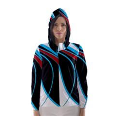 Blue, Red, Black And White Design Hooded Wind Breaker (Women)