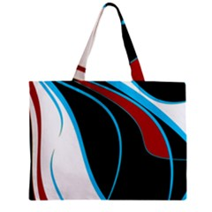 Blue, Red, Black And White Design Zipper Mini Tote Bag