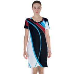 Blue, Red, Black And White Design Short Sleeve Nightdress