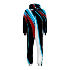 Blue, Red, Black And White Design Hooded Jumpsuit (Kids)