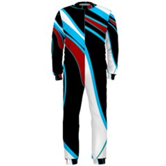 Blue, Red, Black And White Design OnePiece Jumpsuit (Men)