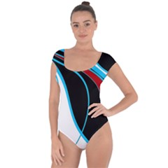 Blue, Red, Black And White Design Short Sleeve Leotard