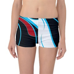 Blue, Red, Black And White Design Boyleg Bikini Bottoms