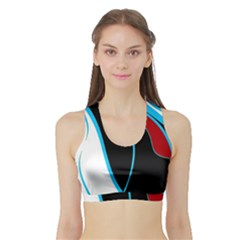 Blue, Red, Black And White Design Sports Bra with Border