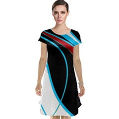 Blue, Red, Black And White Design Cap Sleeve Nightdress