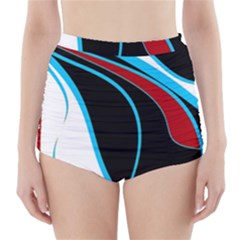 Blue, Red, Black And White Design High-Waisted Bikini Bottoms