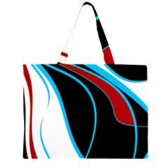 Blue, Red, Black And White Design Zipper Large Tote Bag
