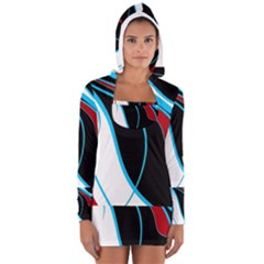 Blue, Red, Black And White Design Women s Long Sleeve Hooded T-shirt