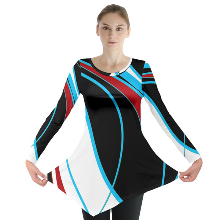 Blue, Red, Black And White Design Long Sleeve Tunic